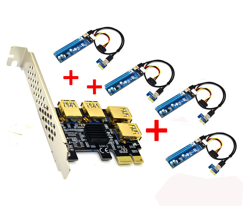 PCI-e express 1X to 4port 16X multiplier riser cable diy bitcoin